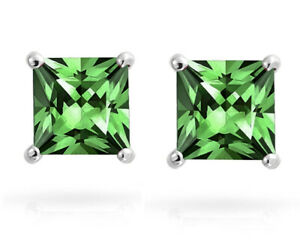 White gold finish Princess cut Green Emerald 7mm stud earrings free postage