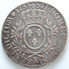 FRANCE LOUIS XV ECU AUX BRANCHES D'OLIVIER 1733 X AMIENS