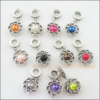 10Pcs Mixed Glass Round Circle Frame Charms Bail Beads Fit Bracelets 14.5x29.5mm