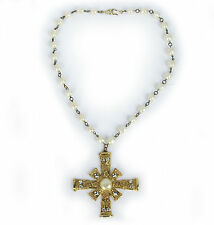 Vintage 1980's Faux Pearl w/ Crystal Cross Necklace