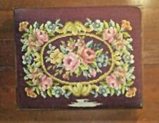 Antique Paragon Foot Stool Hiawatha Heirloom Canvas Tapestry Cover Floral Roses