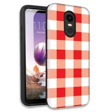 Red White Plaid Double Layer Hybrid Case Cover For LG Stylo 4