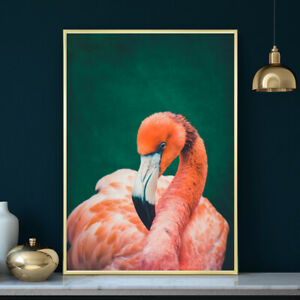 Flamingo Tropical Wall Art Print Painting Poster Bird Pink Green A4 A3 A2 A1