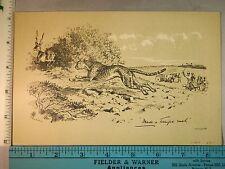 Rare Antique Original VTG Made A Terrific Rush Leopard Antelope Litho Art Print