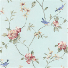 Blue Bird Aviary Botanical Toile Wallpaper Flower Tree Branch Sold By the Yard
