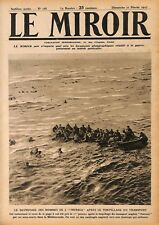 Sauvetage des Marins du Cargo l'Ivernia UK Torpille par un WWI 1917 ILLUSTRATION