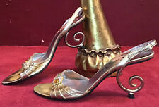 Vintage 50's Enzo Albanese Roma Sandals Metal Heel Mulle Shoe Size 6 Cantilever