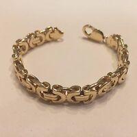 """14 KT solid gold handmade link men's Bracelet 9""""  10.5 MM  55 grams"""