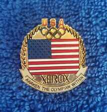 """Olympic Pin - Xerox - USA flag - Olympic Rings - """"Awaken the Olympian Within"""""""