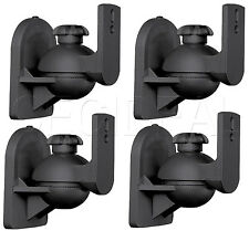 4 Pack Lot - Universal Satellite Speaker Black Wall Mount Brackets fits Bose