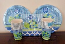 1st Birthday Party Supplies Set Blue Green Turtle Plates Napkins Cups New Kit 16