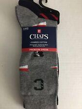 CHAPS Men's 3 Pair Plaids & Solid Premium Combed Cotton Dress Socks Size 7-12