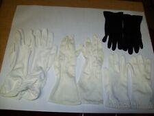4 Pair Vintage Ladies Gloves White , Off White & Black Dress