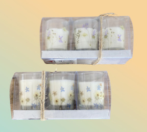Wildflower Print Candles Set of 3 in Peony-Primrose & Chamomile Blush Fragrance
