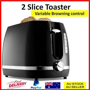 Toaster 2 Slice Electric Automatic Crumb Tray Defrost Reheat Variable Browning