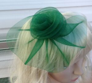 green fascinator millinery feather brooch clip wedding hat bridal ascot race