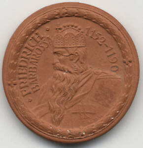 Germany Barbarossa Porcelain Medal 1923 XF Coin Red