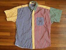 Rare Vintage Chaps Ralph Lauren Color Block Stripes 90s Fresh Prince Oxford Xl