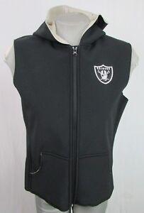 Oakland Raiders Black Full Zip Soft Shell Hooded Vest Women's Medium NFL