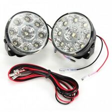 LED Round Daytime Driving Running Light DRL 9XLED 70MM  Car Fog Lights 6000k