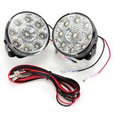 LED Round Daytime Driving Running Light DRL 2x Bright 9 Car Fog Lights 6000k