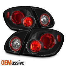 Fits 03-08 Toyota Corolla Black 4Pcs Tail Brake Lights Lamps Pair W/Trunk Piece
