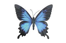 Mariposa Metálica Grande Azul Y Negro Al Aire Libre Jardín De Casa Decoración de pared Arte