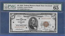 1929  $5 FRBN  ♚♚ CLEVELAND ♚♚  PMG GEM UNC 65 EPQ