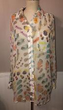 Equipment Femme Silk Sheer Feather Longsleeve Blouse Small EUC