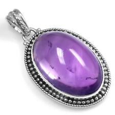 15.18 Gram 925 Sterling Silver 100% Pure Design Amethyst Oval Pendant Jewelry $