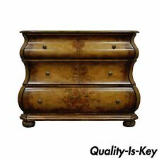 Paint Decorated Bombe Form Commode Bachelor Chest Console Table Dresser Stand
