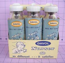 Davol 6 Glass Nursor Baby Bottles Nipples Cardboard Sleeves & Carrier Vintage