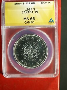 1964 Canada Charlottetown Quebec PL Silver $ - MS66 Cameo (ANACS)  stk#0685
