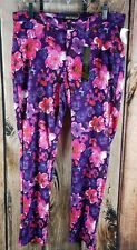 LIKE AN ANGEL STRETCH PANTS SIZE 1X NWT Polyester Spandex NEW Floral Purple Pink