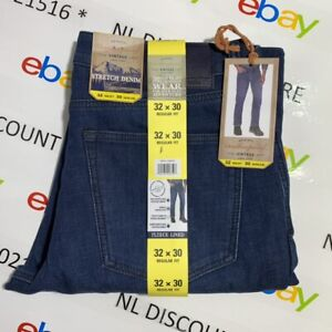 WEATHERPROOF VINTAGE Men's Stretch Denim Fleece-Lined Medium Blue Jeans ~ Sizes