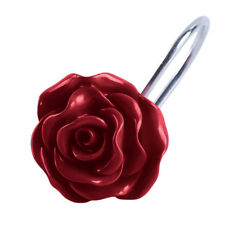 Home Shower Curtain Hooks, Decorative Rustproof Resin Rose Flower Circle Rods G