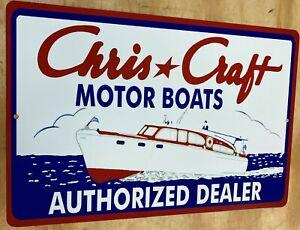 """Chris Craft Motor Boats 12"""" x 18"""" Metal Tin Aluminum Sign"""