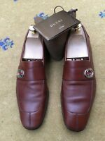 Gucci Mens Shoe Brown Web Loafer UK 7 8 US 8 9 EU 41 42 Green Red Interlocking
