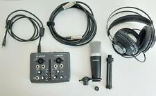 Scheda audio USB 2x2 + microfono + cuffie AKG + stand + cavi