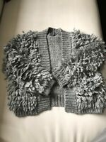 Tocoto Vintage Gray Cardigan Furry Sweater Size 4-5 Years Rare VHTF