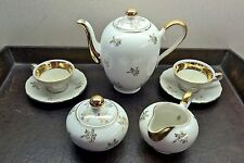 Vintage Bavarian Porcelain Coffee Tea for Two Set, includes Sugar Bowl & Creamer