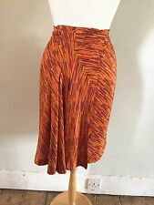 SCANLAN & THEODORE Orange Print Silk Pleat Front Wrap Skirt Sz 10 £300