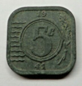 Netherlands 5 Cents 1941 Zinc KM#172