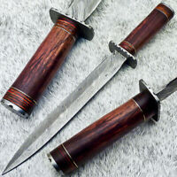 """Authentic HAND FORGED DAMASCUS 17"""" DAGGER KNIFE WITH NATURAL WOOD HANDLE- UT-443"""