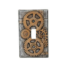Steampunk Gearwork Design Clockwork Painted Switch Plate Resin Home Decor Theme