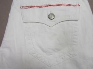 TRUE RELIGION RICKY MENS WHITE RELAXED STRAIGHT BASEBALL STITCHED JEANS SIZE 36
