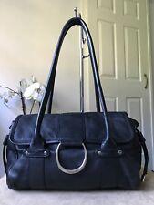 Suzy Smith vintage black genuine leather handbag tote