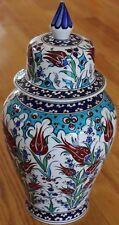"15"" Turkish Handmade Iznik Tulip & Cintemani Pattern Ceramic Jar Urn Canister"