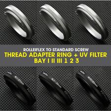 Rolleiflex to Standard Screw Thread Adapter Ring + UV Filter Bay I II III 1 2 3