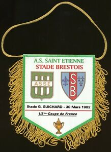 PETIT FANION 10*9 CM AS.SAINT-ETIENNE Vs STADE BRESTOIS COUPE FRANCE 1982